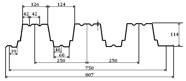 Н 114 – несущий профилированный лист